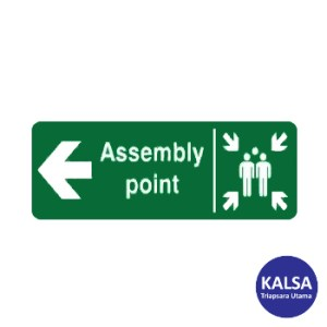 Safety Sign Assembly Point Left Direction Glow In The Dark Sticker Only