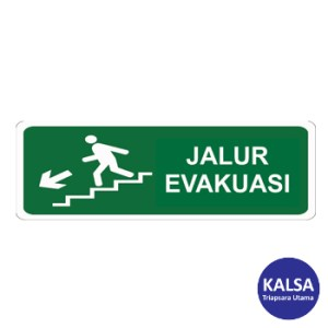Safety Sign Evacuation Route Direction Go Down The Left Ladder Glow In The Dark with Aluminium Board