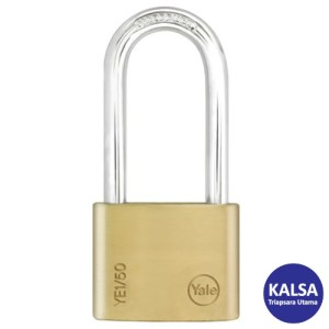 Yale YE1/50/166/1 Essential Series Indoor Brass Long Shackle 50 mm Security Padlock