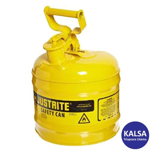 Distributor Justrite 7120200 Type I Yellow Larger Capacity Trigger Safety Container