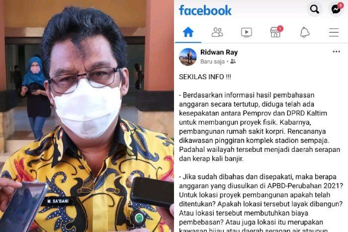 Kolase Muhammad Sabani, Sekprov Kaltim dan postingan di Facebook/ IST