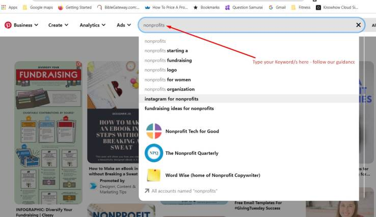 pinterest for nonprofits_Search function