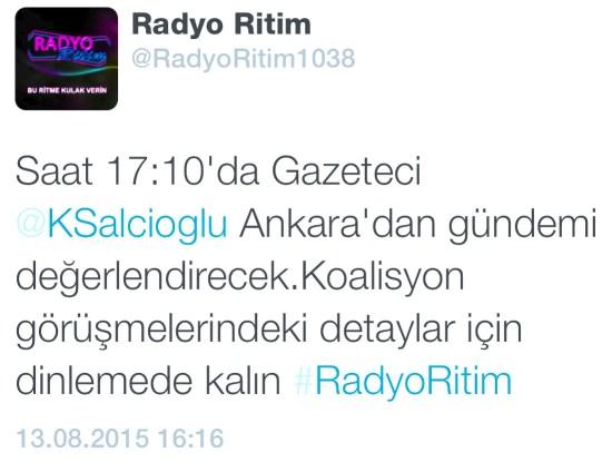 RADYO RİTİM - UĞUR BOZDAĞ - 13.08.2015 - 17.10
