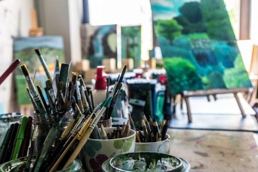 Zielony Anioł w Lanckoronie - Wystawa prac uczniów z -Werandy Anieli- podcas -Spotkania w Stodole--04382