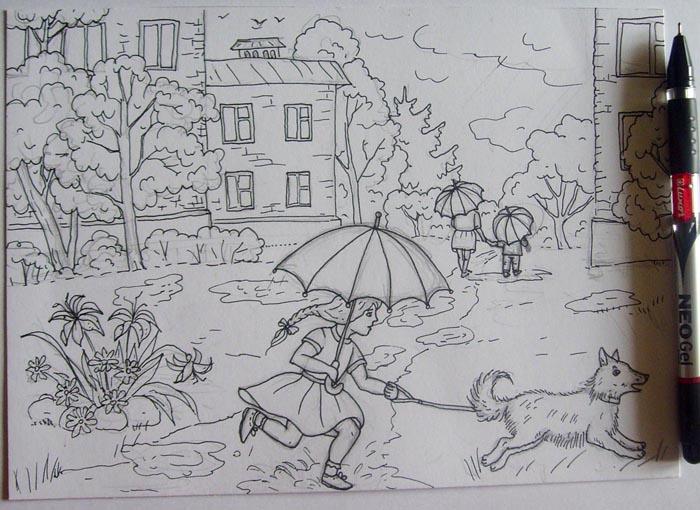 рисунок осень дождь карандашом каждый день