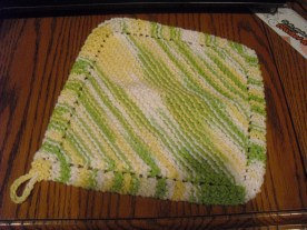 dishcloth - a common pattern, I don't remember where I got it (cotton)