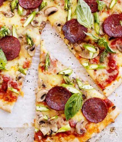 Salami,-asparagus-&-mushroom-pizza