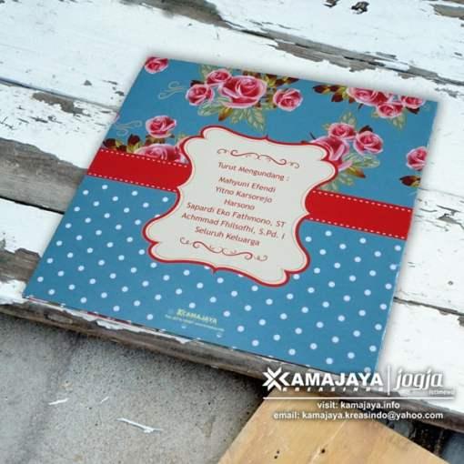 undangan pernikahan vintage biru polkadot