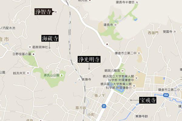 鎌倉、主な萩の名所 地図