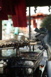 海南神社の手水。龍がにあいます。