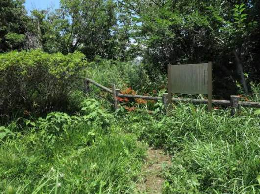 鐙摺城址、鐙摺山山頂の平場には伊東祐親入道供養塚があります。