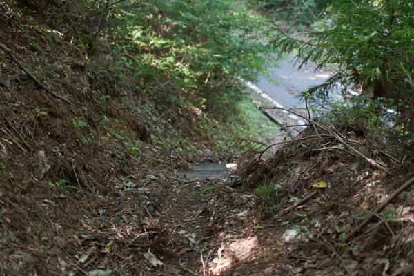 封事ヶ峠を越え、舗装道路と交差しながら進みます。1時36分。