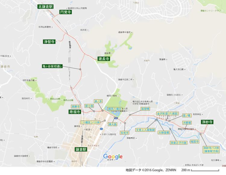 鎌倉五山ルートガイド地図