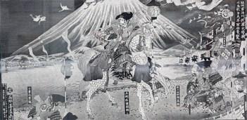 平家越の石碑とともに、飾られた絵のアップ。中央が「兵衛佐源頼朝公」。右は佐々木四郎高綱」、左は「千葉常胤」。この逞しい頼朝はイメージぴったりです。