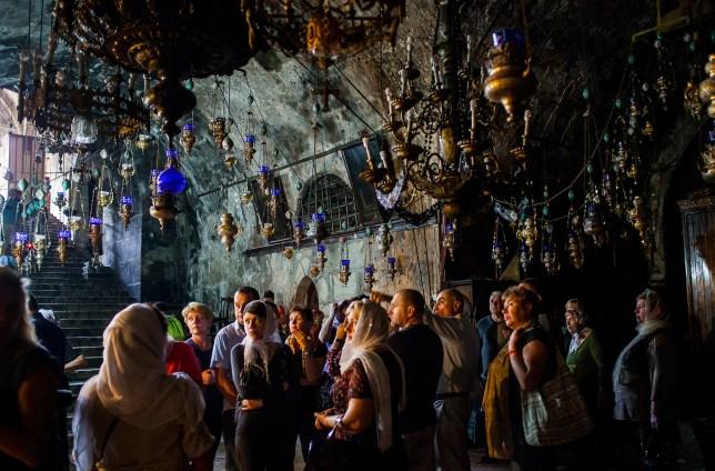 Visitors, Tomb of the Virgin Mary, Mount of Olives, Jerusalem, Israel.