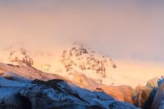 View of Svinafellsjokull glacier at sunset. Vatnajokull National Park. Iceland.