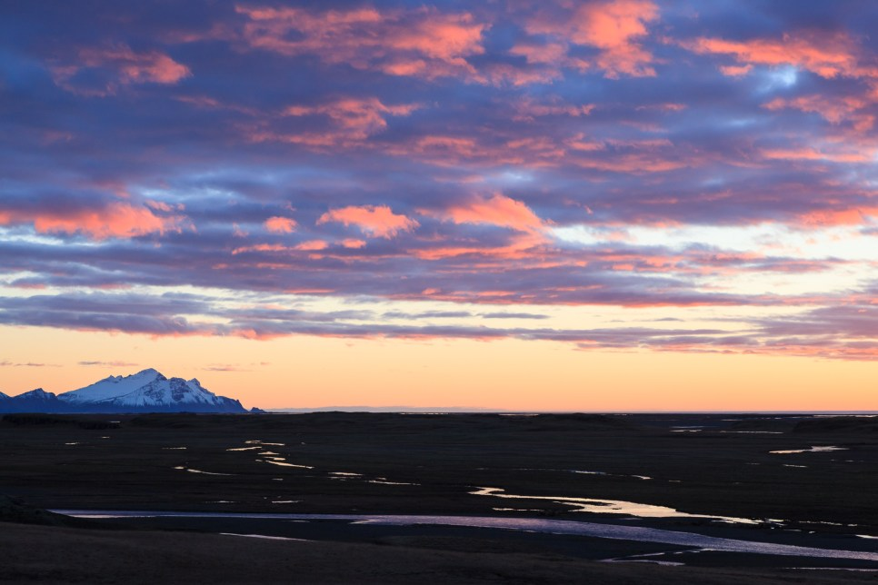 Landscape at sunrise near Hofn. Southern Iceland.