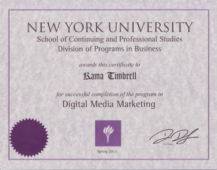 NYU School of Continuing and Professional Studies Certificate in Digital Marketing, Kama Timbrell