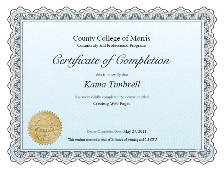 Completion Certificate Creating Web Pages, Kama Timbrell