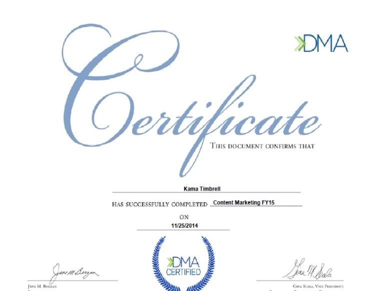 Direct Marketing Association Content Marketing Certificate, Kama Timbrell