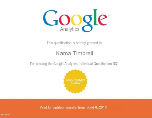 Image of Google Analytic Individual Qualifiation Certificate for Kama Timbrell