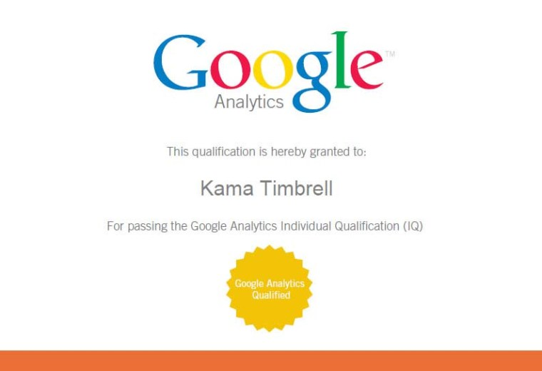 Google Analytics Individual Qualification Certificate, Kama Timbrell