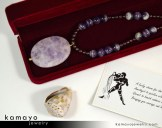 Aquarius Necklace - Large Lavender Amethyst Pendant and Red Garnet Beads