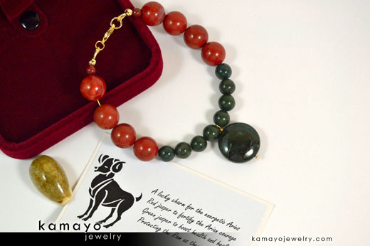 Aries Bracelet - Green Jasper Pendant and Red Jasper Beads
