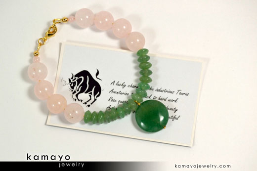 Taurus Bracelet - Green Aventurine Pendant and Rose Quartz Beads