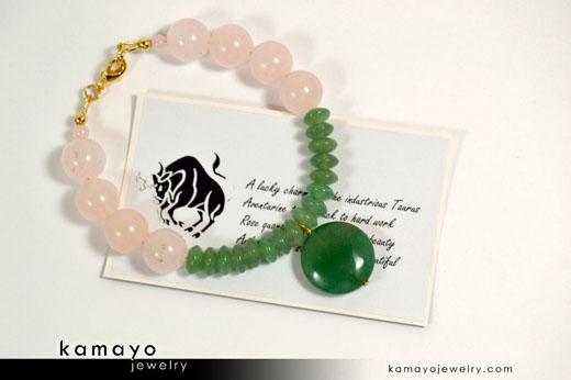 Taurus Bracelet - Green Aventurine Pendant and Rose Quartz Beads