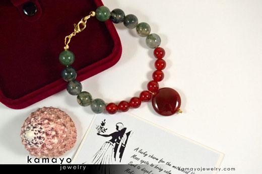 Virgo Bracelet - Sard Pendant and Moss Agate Beads