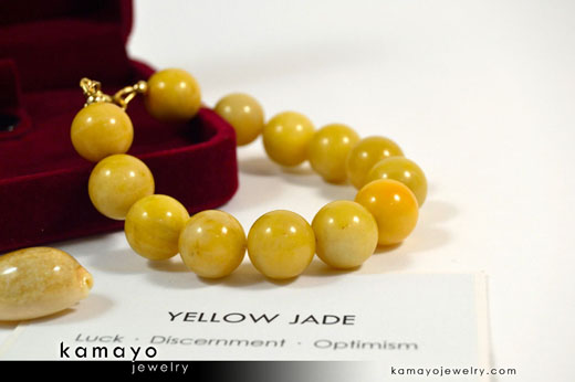 Yellow Jade Bracelet on Jewelry Box
