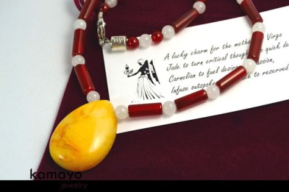 Virgo Necklace - Yellow Jade Pendant