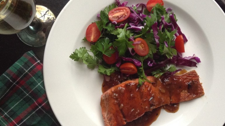 Seared Salmon with Teriyaki Butter Sauce and a Red Cabbage Slaw