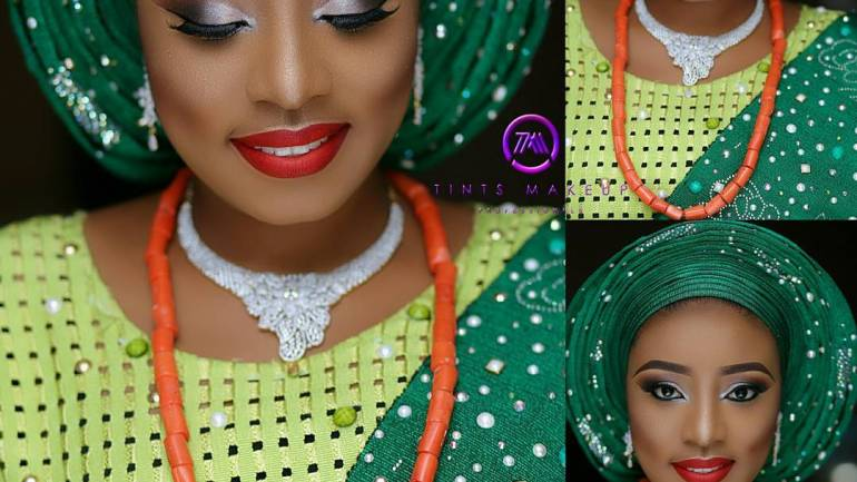 Wedding Glam: Dr Abiola Makes us Green With Envy In Her Beaded Aso Oke!