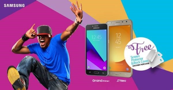 YES!! Get Free Screen Protector & Back Cover When You Buy A Samsung Galaxy Grand Prime+ or J7 Neo