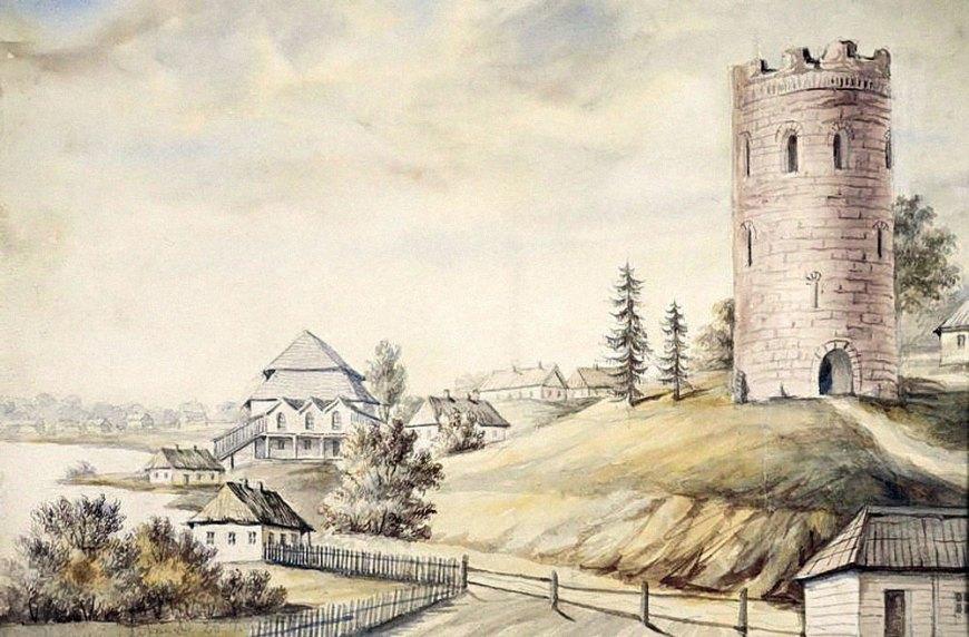 """""""Загадочный"""" вход внизу башни на гравюре Наполеона Орды, 1876 год"""