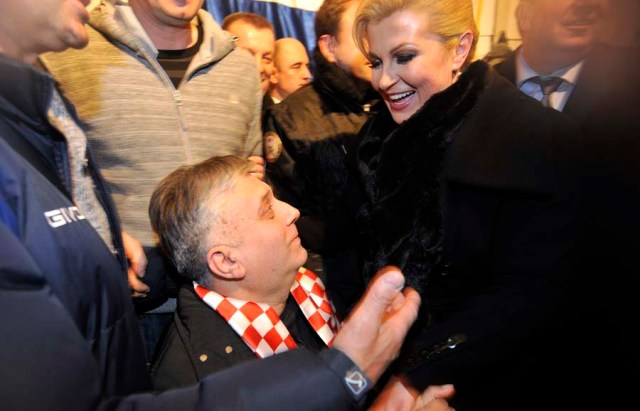 Zagreb, 12.01.2015 - Kolinda Grabar Kitarovic nakon pobjede na izborima posjetila branitelje u Savskoj