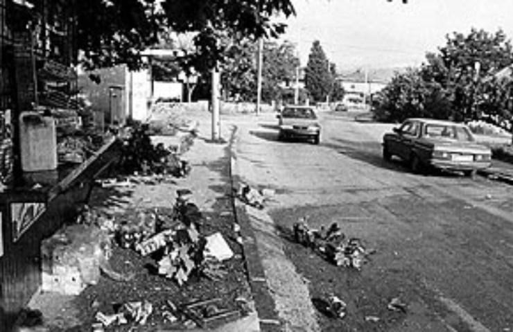 Posljedice granatiranja Širokog Brijega 05.08.1995. - detalj