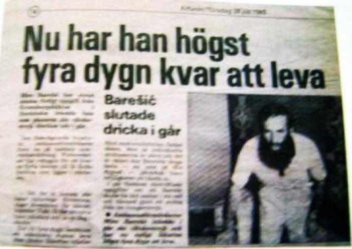 """Veliki švedski dnevni list """"Aftonbladet"""" je objavio fotografiju Mire Barešića kad je tokom štrajka glađu izgubio pola težine"""