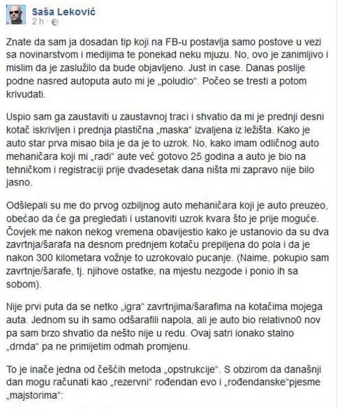 """""""Životna drama Saše Lekovića opisana 'u prvom licu' """""""