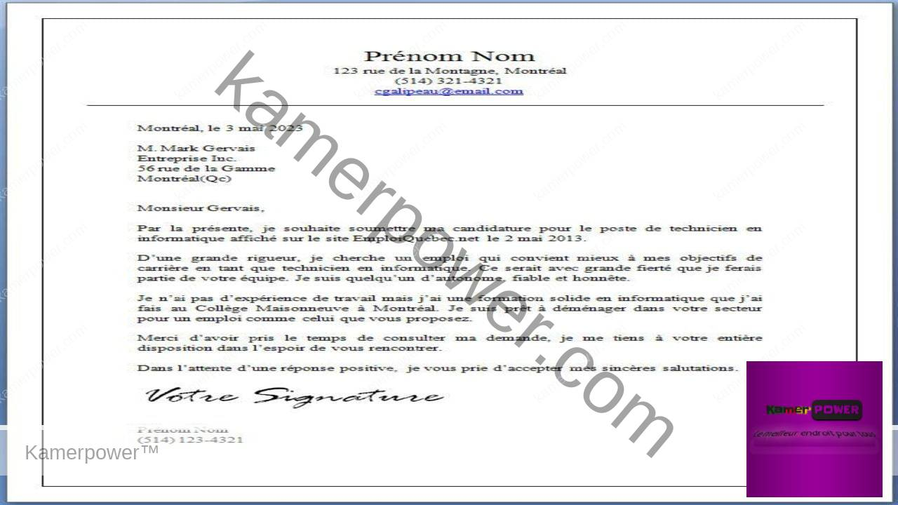 la lettre administrative demande demploi exemple