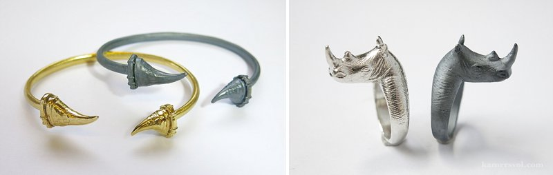Rhino awareness jewellery by Anna Rosholt at KAMERS Cape Town - buy online at shop.kamersvol.com