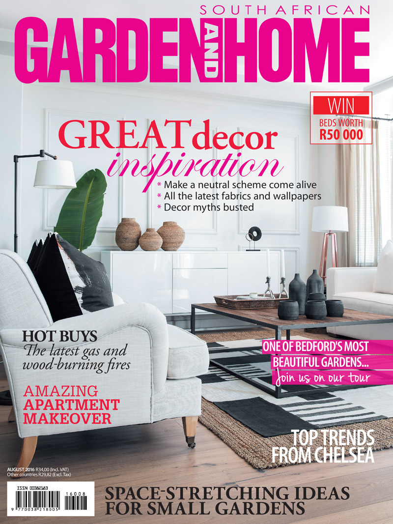 Garden & Home August 2016 cover - KAMERS co-owner Magdel Kemp featured