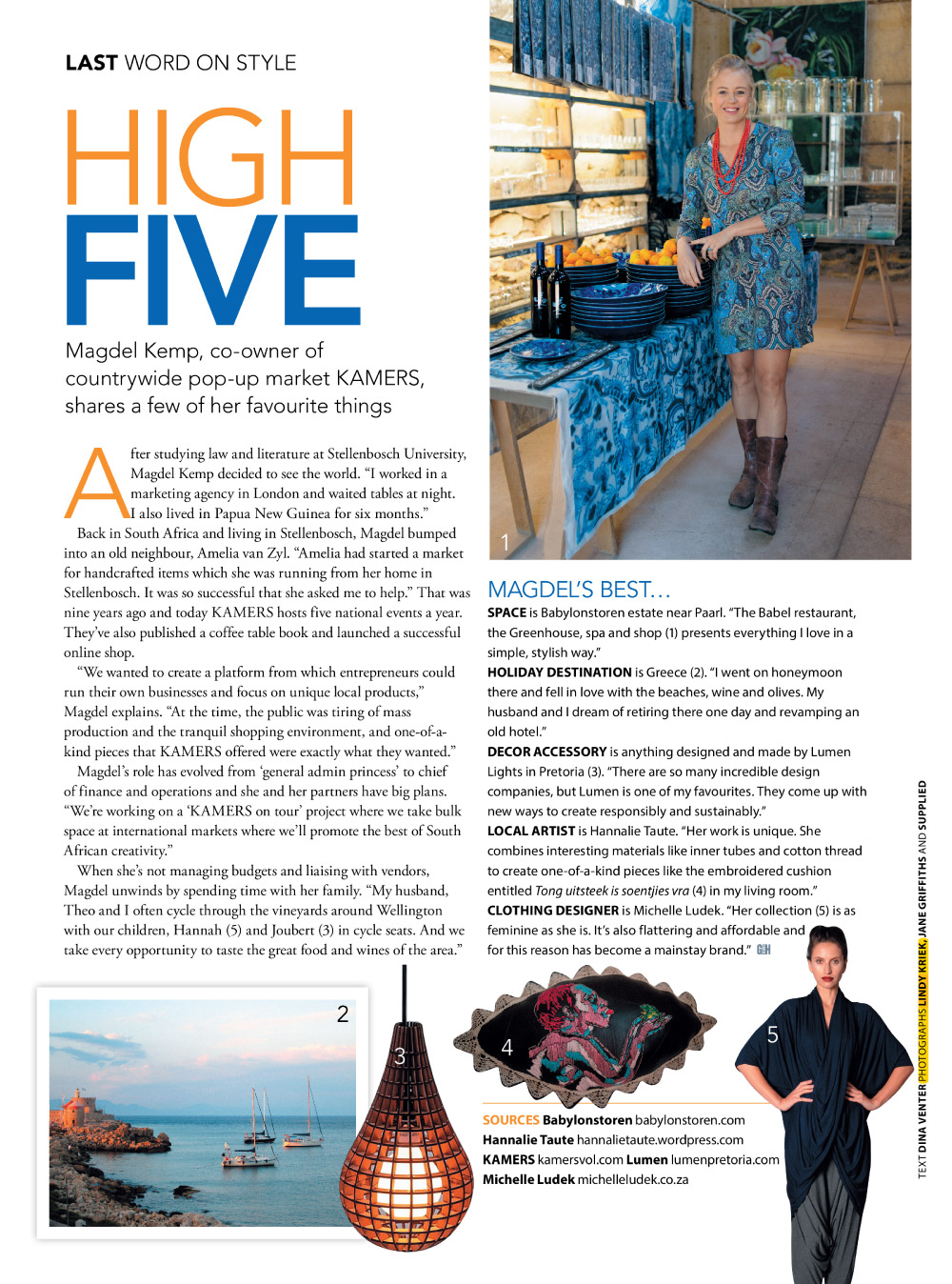 KAMERS co-owner Magdel Kemp featured in Garden & Home August 2016