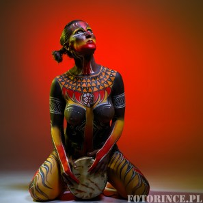 Bodypainting. Woman painted with ethnic patterns