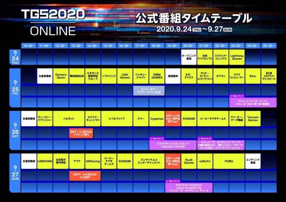 TGS2020 タイムテーブル