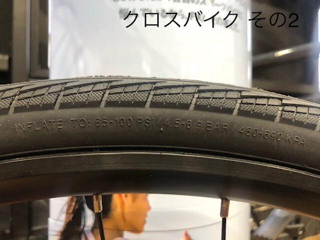 """""""クロスバイクのタイヤ空気圧表示部分"""""""