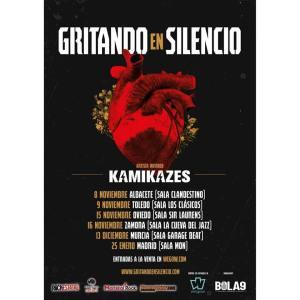 Cartel kamikazes gritando en silencio