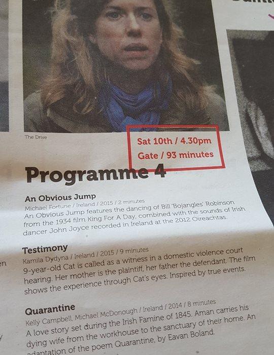 Testimony at Indie Cork Film Festival